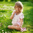 Cute little girl on the meadow in summer day — Stock Photo #19928263