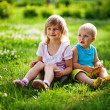 Stock Photo: Brother and sister outdoors