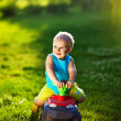 Kid with car outdoors - Foto de Stock