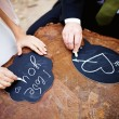Hands drawing love — Stock Photo