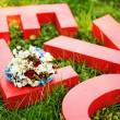 Love letters on the grass - love concept — Stock Photo