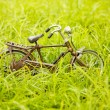 Toy bicycle on a grass — Stock Photo