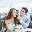 cafe couple drinking talking having fun laughing smiling happy — Stock Photo #19929833