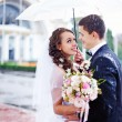 Wedding kiss in the rain — Stock Photo #19929837