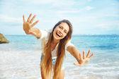 Beach, beautiful woman — Stock Photo
