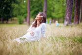 Pregnant outdoors — Stock Photo
