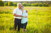 A lovely portrait of a happy senior couple outdoors. — Стоковое фото