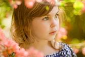 Beautiful child in gloom — Stock Photo