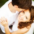 Lovely couple on wedding day - soft focus — Stock Photo