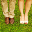 Stock Photo: Feet and shoes of newlyweds