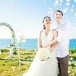 Romantic wedding on the beach, bali — Stock Photo