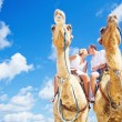 Camel ride on wedding day (focus on faces of people) — Stock Photo