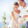 Newlyweds cutting the wedding cake (soft focus on the eyes of bride and groom) — Stock Photo