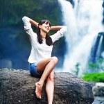 Woman near fresh waterfall, bali — Stock Photo