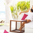 Woman in summer - relaxing in villa — Stock Photo