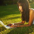 Young woman on a grass in the park or garden using laptop — Stock Photo #33576639