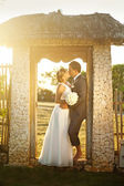 Rustic wedding in summer village — Stock Photo