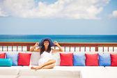 Woman in luxury resort in bali — Stock Photo