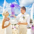 Wedding in bali - couple holding doves — Stock Photo