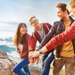 Team success concept: group of people holding hands on the top of the mountain — Foto Stock