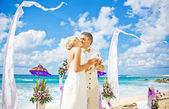 Wedding in bali - couple holding doves — Stock Photo