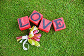 Cubes with love text on it — Stock Photo