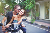 Couple on the bike — Foto de Stock