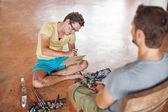 Painter drawing portrait — Stock Photo