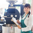 Woman working on coffee factory — Stock Photo #48298691