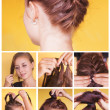 Braided bun updo tutorial — Stock Photo #50783497