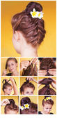 Braided bun updo tutorial — Stock Photo