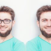 Smiling man with eyesight problems — Foto de Stock