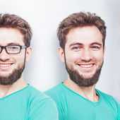 Smiling man with eyesight problems — Stok fotoğraf