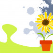 Childish background with sunflower — Image vectorielle