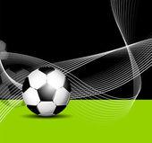 Fundo de bola de futebol com linhas abstratas — Vetor de Stock