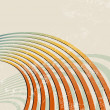 Retro background with curved lines - radio waves - abstract music template — Vettoriali Stock