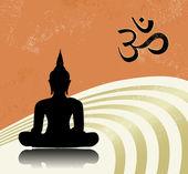 Grunge buddha and OM symbol — Stock Vector