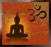 Grunge símbolo om y Buda — Vector de stock