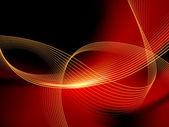 Abstrato vermelho ondulado com linhas curvas e raio de luz — Vetorial Stock