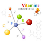 Vitamin supplements - molecular structure - medical technology — Stock Vector