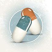 Natural medicine - retro pills - alternative healing — Stock Vector