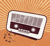 Old radio - retro style - music poster design — Stock Vector
