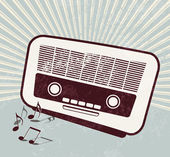 Retro poster - old radio - music template — Stock Vector
