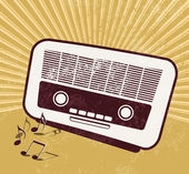 Retro music background - old radio — Stock Vector