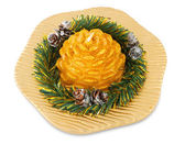 Xmas cone candle on plate — Stock Photo