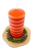 Xmas candle on plate — Stock Photo