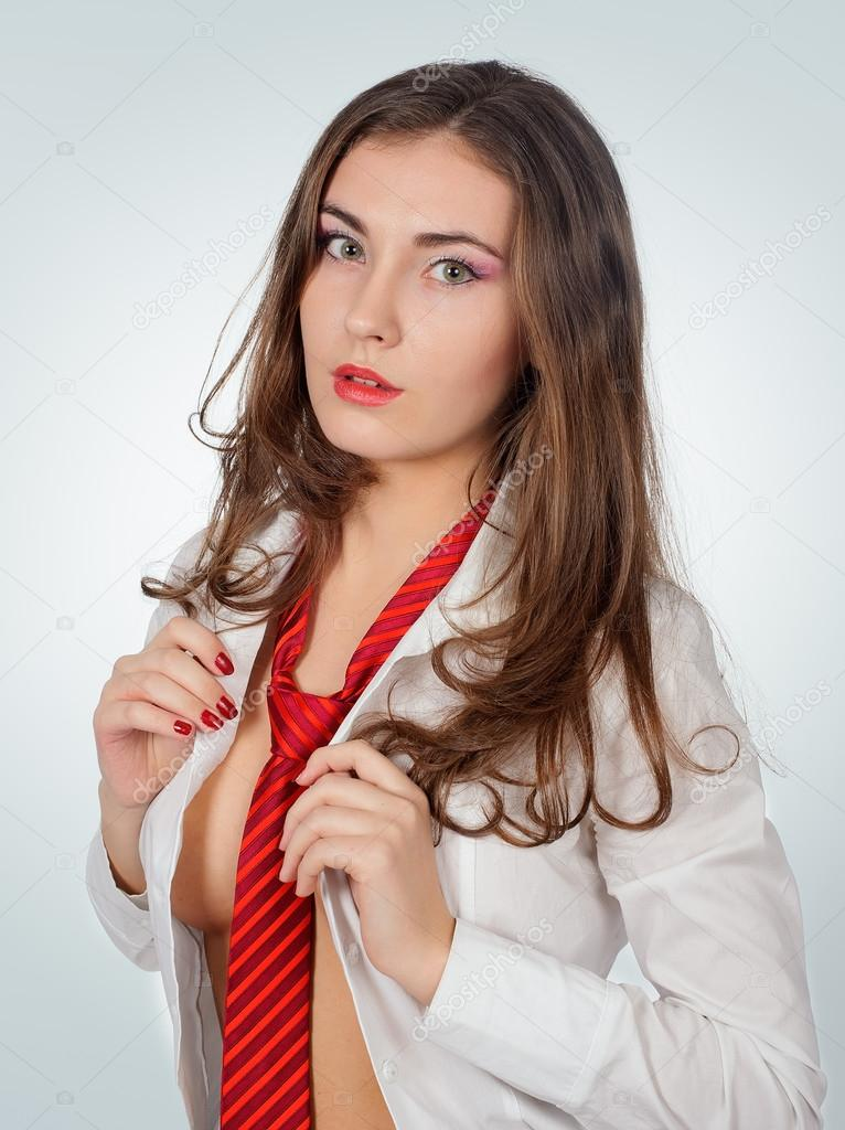 Sexy Woman with Red Tie — Stock Photo © LP47 #18932293