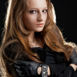Постер, плакат: Fashion hard rock girl in black cloak
