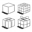 Set of the sketched boxes — Stock Vector