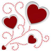 Tarjeta de papel rojo corazones de san valentín — Vector de stock